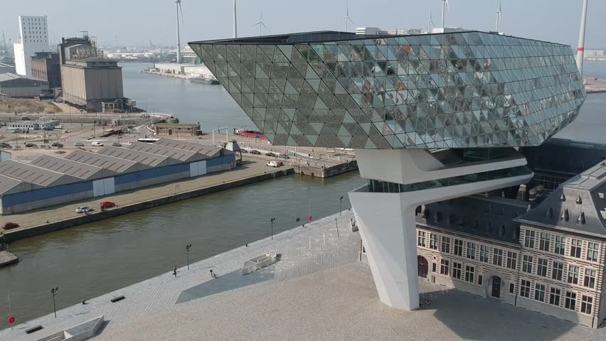 Antwerp, Belgium - 04 19 2018: This is the new port house in Antwerp. the building has been renovated by architect Zaha Hadid.