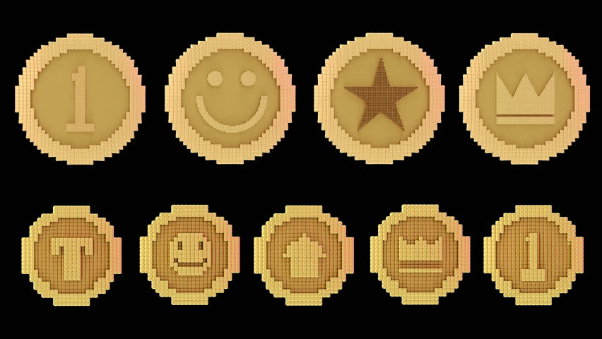 8 bits voxel rotating animated golden coins, arcade style Royalty-Free Stock Footage #1013050052