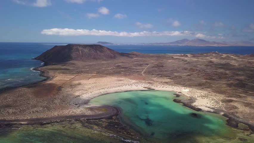 Aerial view lagoon of lobos island, fuerteventura, canary islands | Shutterstock HD Video #1013058263