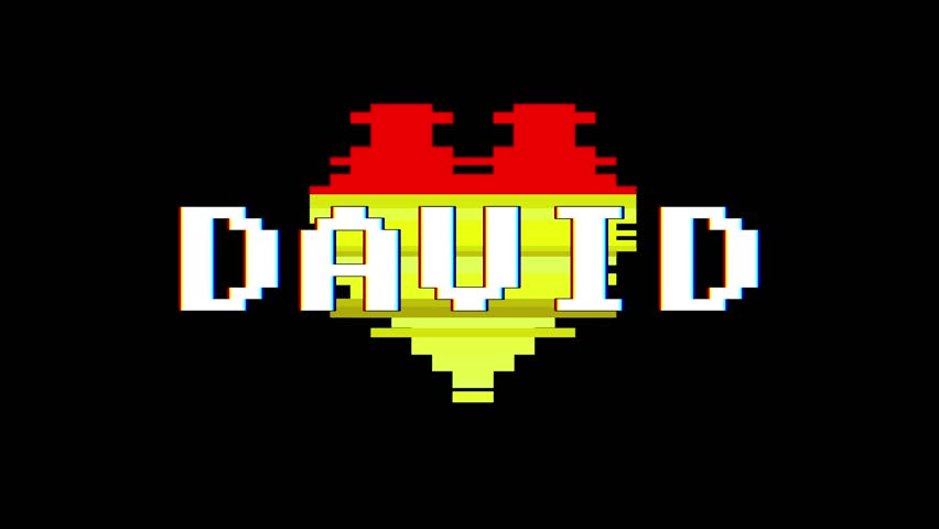 Pixel heart DAVID word text glitch interference screen seamless loop animation background new dynamic retro vintage joyful colorful video footage | Shutterstock HD Video #1013080418