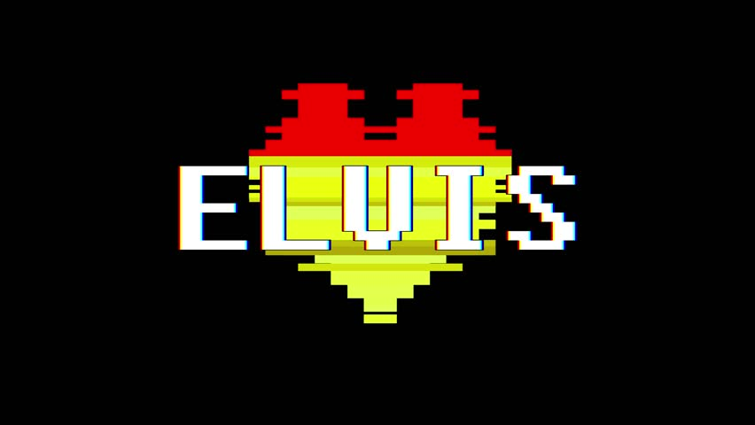 pixel heart ELVIS word text glitch interference screen seamless loop animation background new dynamic retro vintage joyful colorful video footage #1013080430