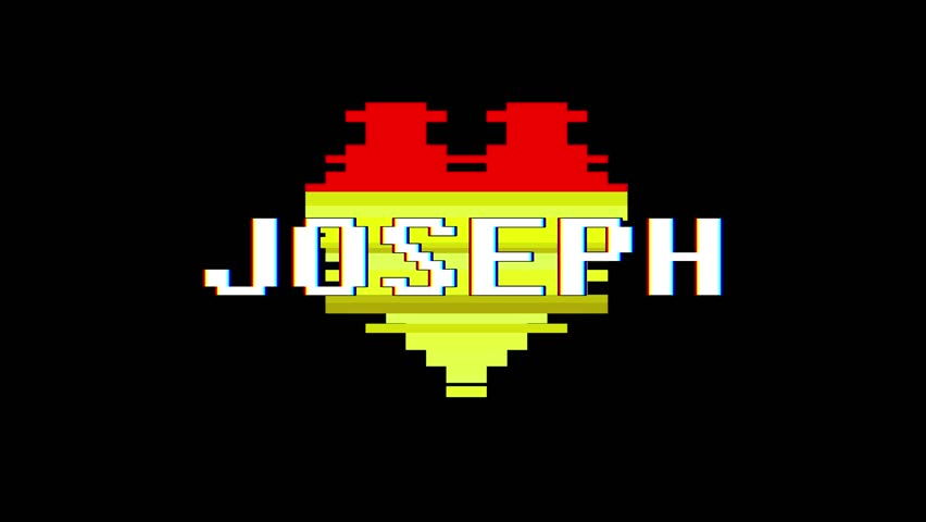 Pixel heart JOSEPH word text glitch interference screen seamless loop animation background new dynamic retro vintage joyful colorful video footage | Shutterstock HD Video #1013080562