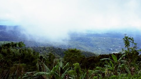 Hilly Highlands Panorama With Foggy Weather At Munduk Village, Bali, Indonesia