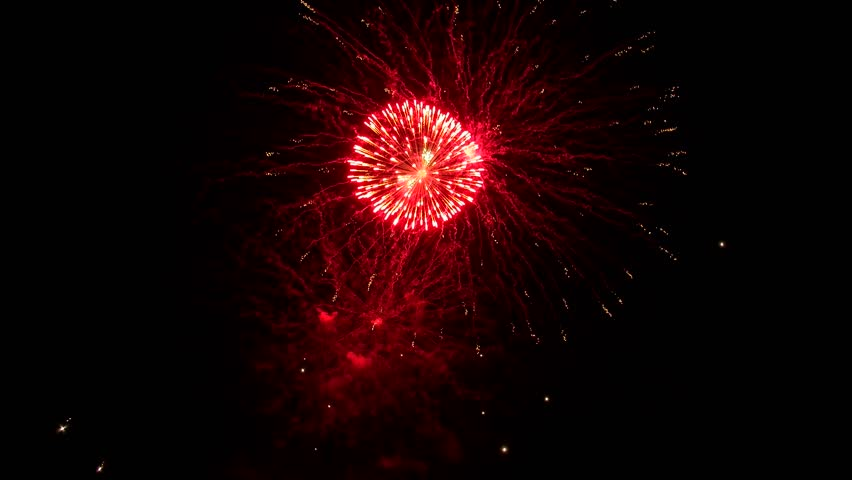 Beautiful fireworks on a summer evening against the background of a dark sky | Shutterstock HD Video #1013107916