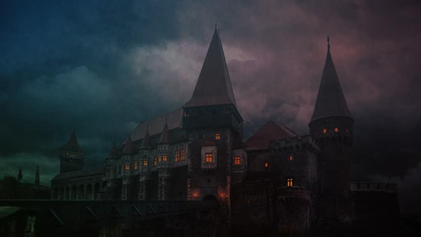 Transylvanian medieval castle on a storm evening   Shutterstock HD Video #1013109452