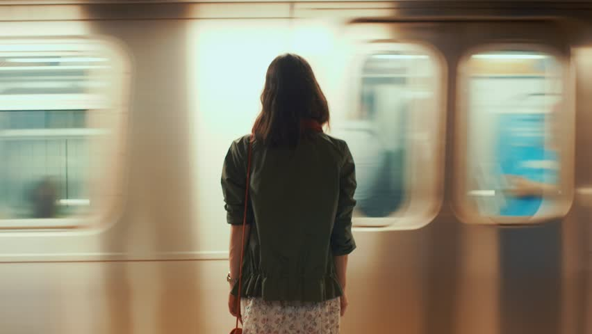 Young girl in the New York subway Royalty-Free Stock Footage #1013150201