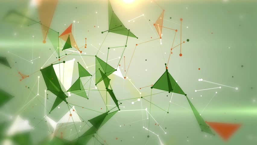 Plexus of abstract multicolored geometrical lines with moving triangles and dots on a green background animations. | Shutterstock HD Video #1013150390