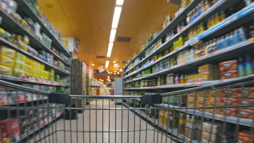 Shopping cart moving in supermarket | Shutterstock HD Video #1013171828