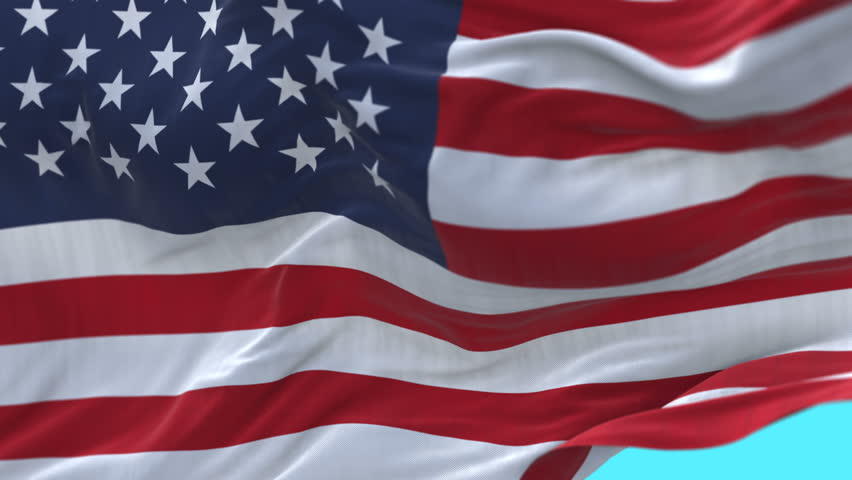 Seamless American Flag Slow Waving with visible wrinkles.Close up of UNITED STATES flag.usa,A fully digital rendering,The animation loops at 20 seconds.3D animation with alpha channel. cg_06287_4k