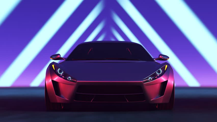 03476 Futuristic concept sport car racing through tunnel made of lights at high speed. Sci-fi environment.