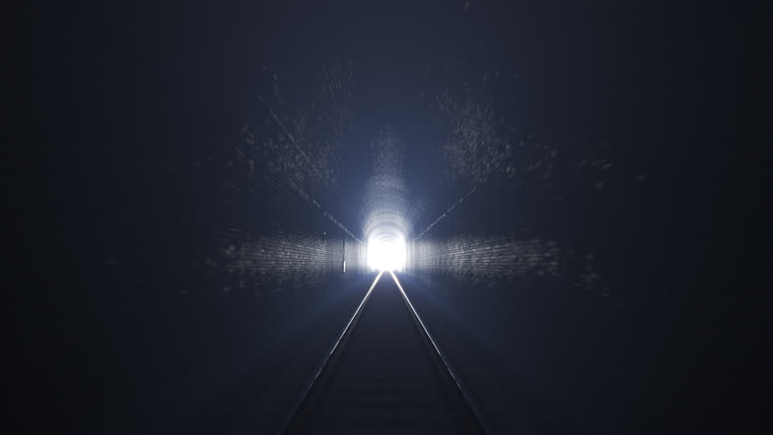 03426 Moving through a railway tunnel towards the light.