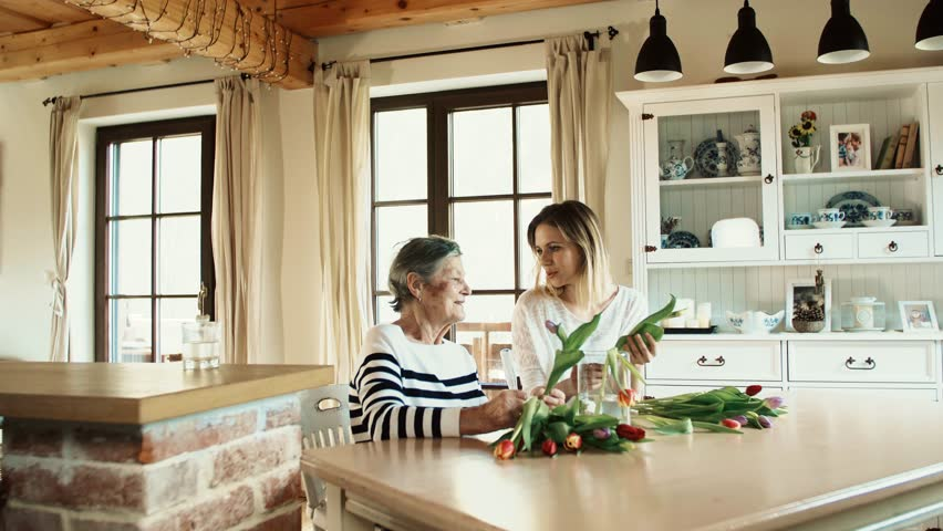 Elderly grandmother with an adult granddaughter at home., putting flowers in a vase. #1013183492