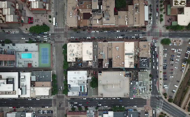 Downtown Denver aerial top down view time lapse #1013201942