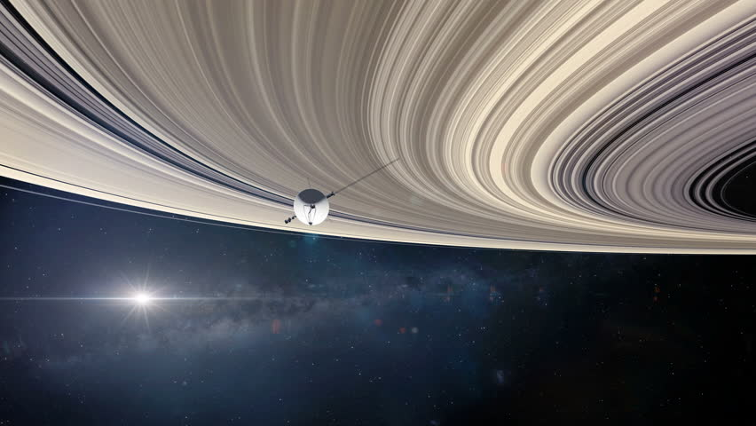 Voyager Probe at Saturn's Rings 1