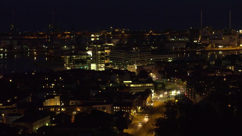 Night time drone flight over Aarhus, Denmark   Shutterstock HD Video #1013260613