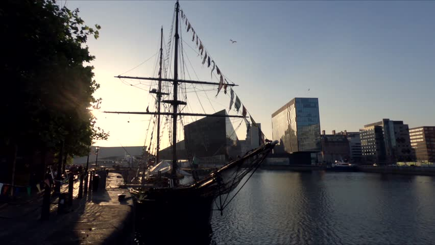 Cinematic Liverpool City At Golden Hour, Historic Docks, England, United Kingdom. A Variety Of 4K Camera Angles Available.