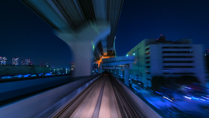 4K.Time lapse automatic train fast speed at Tokyo city of Japan asia is a famous place in Japan Asia Odaiba line