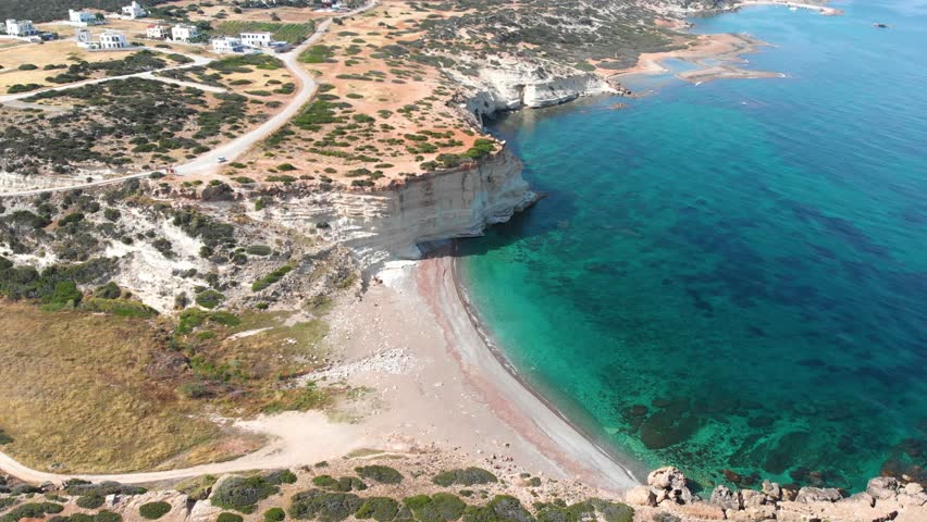 White River Beach in Cyprus, Paphos, Peyia area towards Akamas peninsula, cliff and crystal clear sea water, the beach is usually not crowded