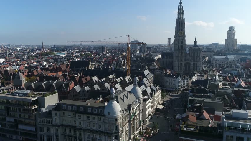 Aerial bird view footage Antwerp city center moving towards Cathedral of Our Lady in Dutch Onze-Lieve-Vrouwekathedraal is a Roman Catholic cathedral in Antwerp Belgium 4k high resolution footage