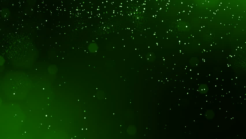 4k 3d render of glow particles on dark green background as abstract seamless background with depth of field and bokeh. Science fiction or microcosm with dots. 3d Loop animation. 3