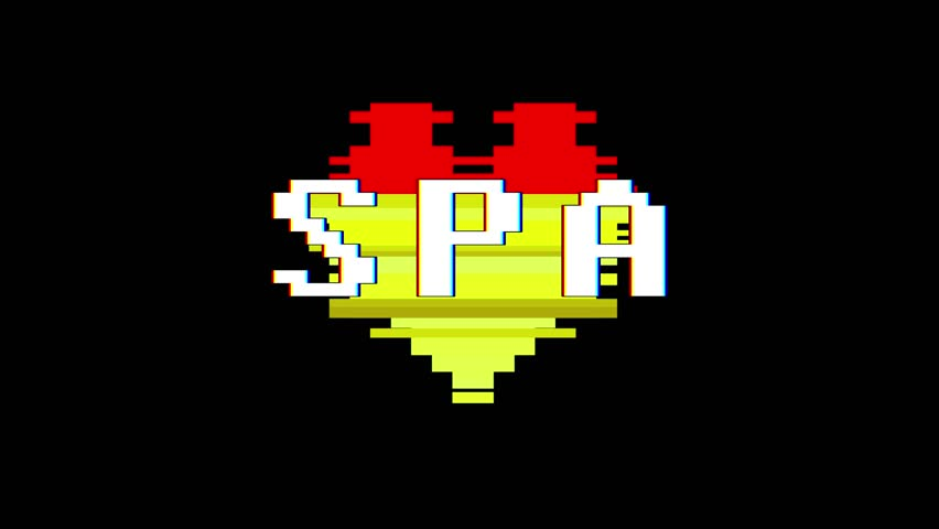 pixel heart SPA word text glitch interference screen seamless loop animation background new dynamic retro vintage joyful colorful video footage #1013328740