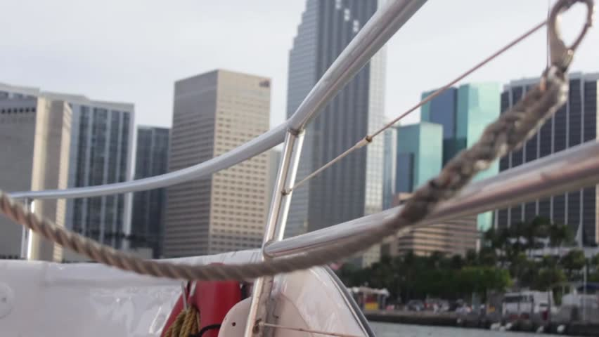 City view of Miami from a boat.