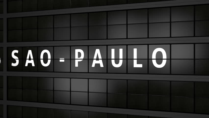3D generated animation, analog flight information display board with the arrival city of Sao Paulo, Brazil   Shutterstock HD Video #1013355677