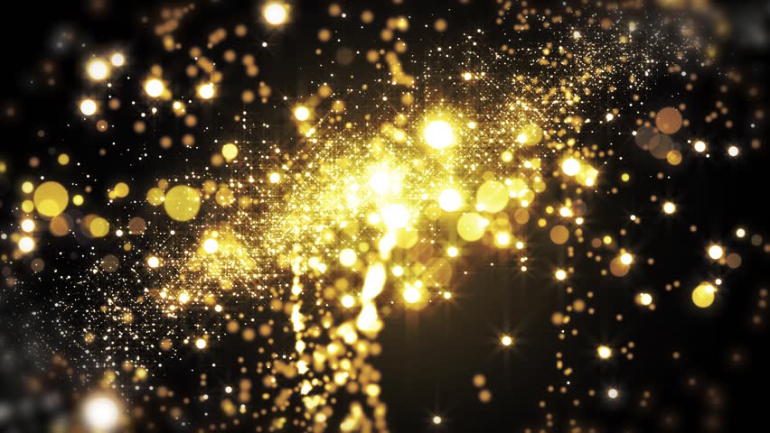 Lights gold bokeh background. Elegant golden abstract. Rich background with circles and stars. Christmas Animated background. Space background. Seamless loop. #1013357591