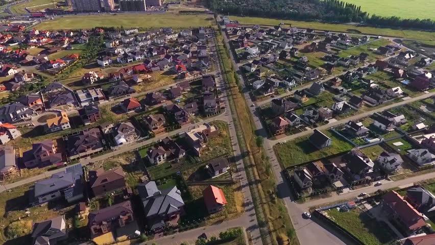 Beautiful modern city. Roofs of European houses. Krasnodar, German village.