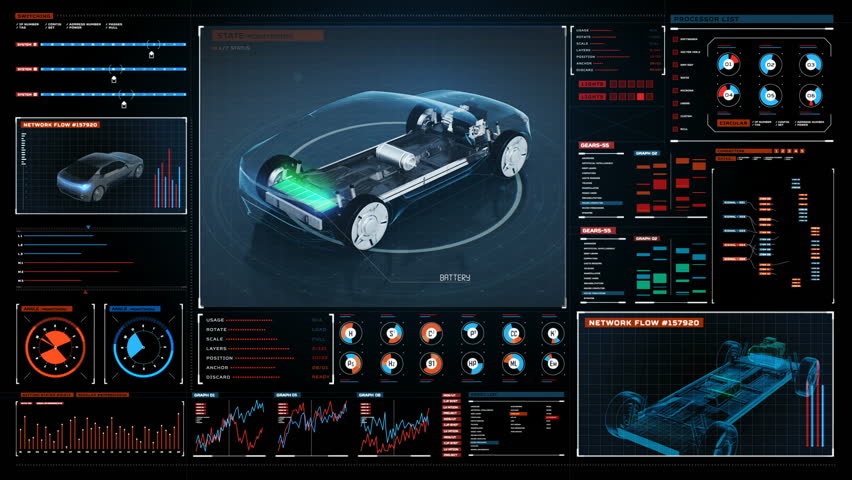 Rotating Electronic, hybrid, lithium ion battery echo car. charge battery, inside view in Digital futuristic display interface. eco-friendly future car. 4k movie.1. | Shutterstock HD Video #1013395922