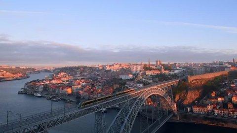 View of the historic city of Porto with the Dom Luiz bridge, Portugal, Europe