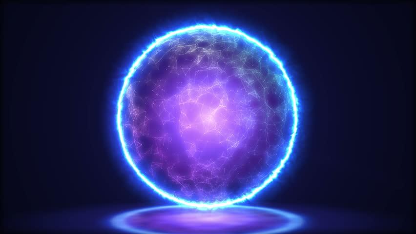 Magic lamp closeup. Energy inside the sphere. 4k
