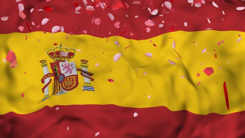 4k Realistic 3D detailed slow motion Spain flag , Falling Rose petals on flying Spain Flag Animated Background, Waving Spain Flag Background, 4k Render, 3D animation