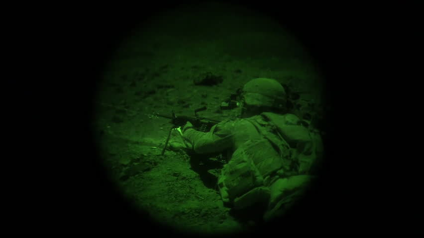 CIRCA 2017 - Night vision shows members of the US Army's 1st Brigade Combat Team, 10th Mountain Division, undergoing live fire training in Djibouti.