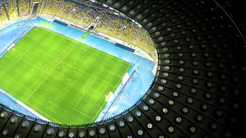 Players training in football game, preparation before championship, aerial view