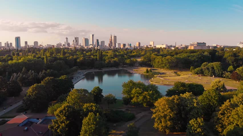 Pola Mokotowskie Warsaw Park with lake and city aerial view