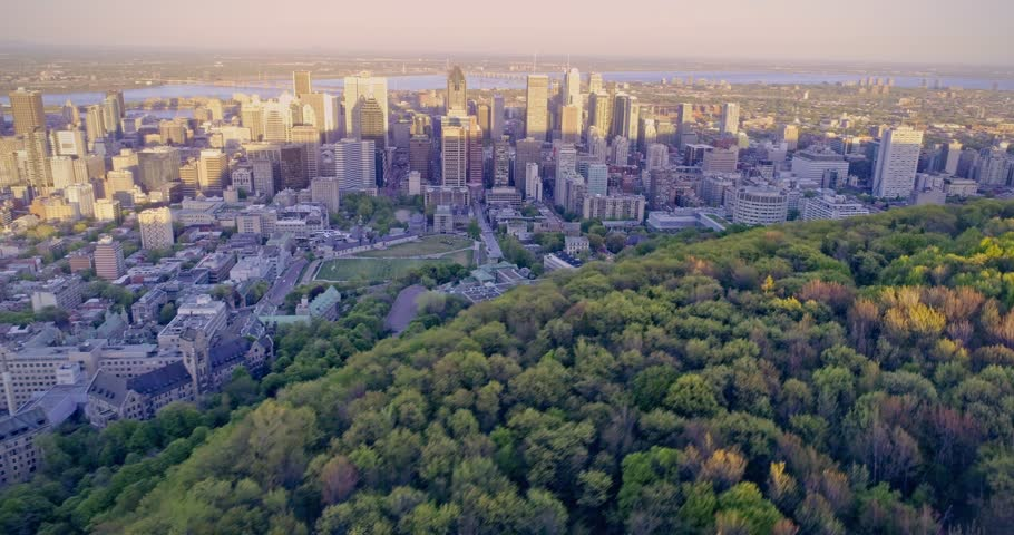 AERIAL: Flying over Mont Royal looking out to Montreal city skyline at sunset, Canada.