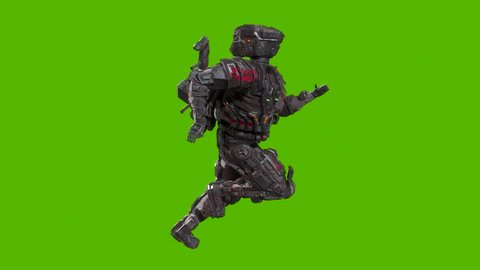 Futuristic military cyborg soldier running 3d animation side view, isolated on green background