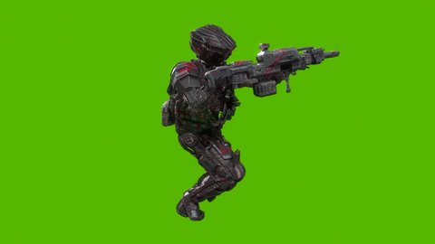 Futuristic military cyborg soldier running and aiming 3d animation side view, isolated on green background