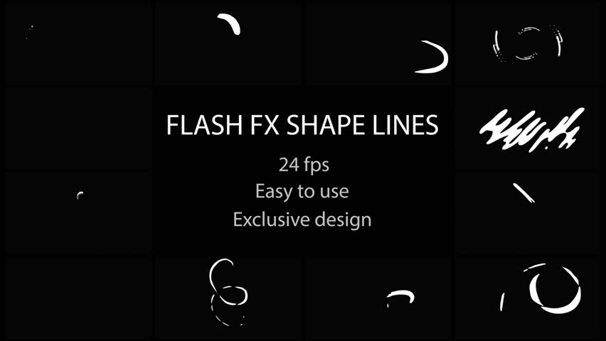 Flash FX Shape Lines. Hand drawn and frame by frame animated. Just drop elements to your project. Easy to customize with your favorite software. Alpha channel included. More elements in our portfolio