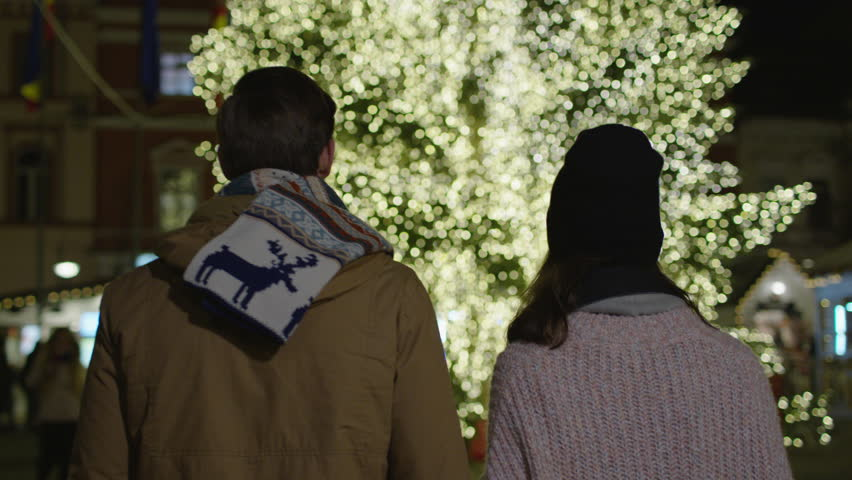 Rear view of a young couple heading towards a Christmas tree