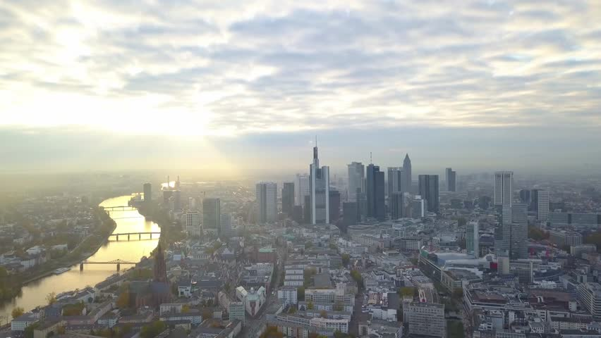 Cinematic Aerial of the Skyline of Frankfurt