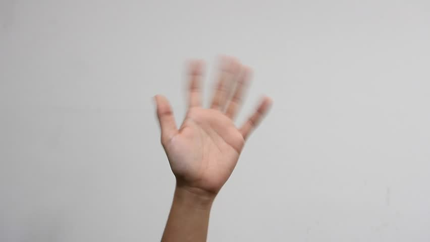 Hand waving, saying goodbye gesture isolated on white background. HD 1080p