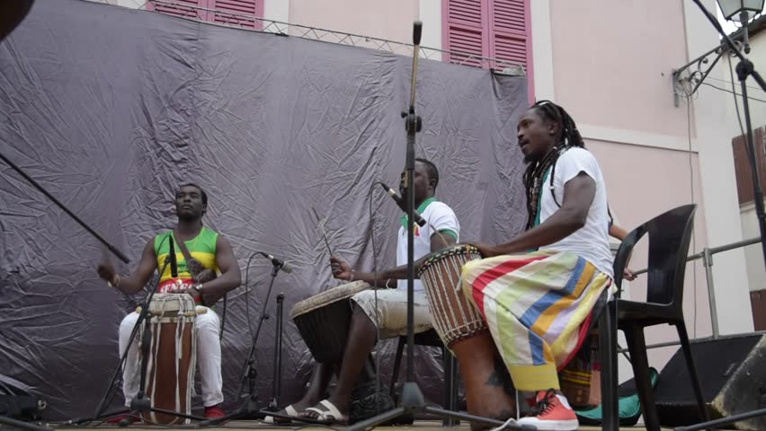 Bagnara,italy,06-25.2018	Africans playing percussion