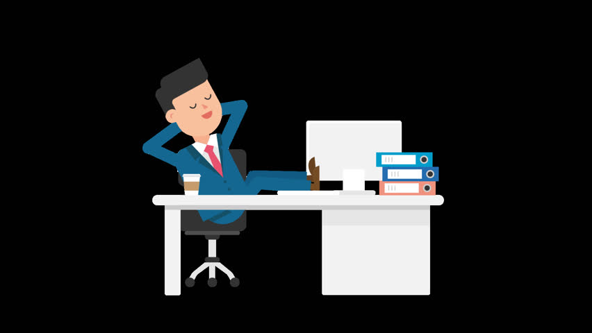 Animated corporate white man dressed in a blue suit with a red tie is at his desk and takes a quick nap, getting comfortable on his chair with his legs on his desk, where you can also see a computer, folders