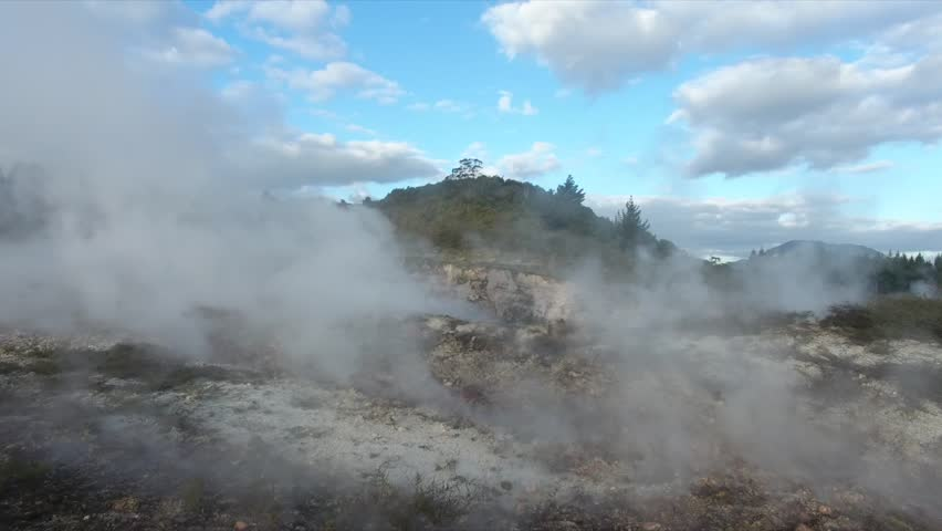Taupo, Taupo / New Zealand - 03 30 2018: Aerial footage of steaming geothermal fields | Shutterstock HD Video #1013506850