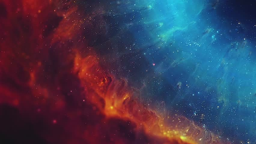 Fly through stars  in the gas cloud. Cosmic nebula in the form of the eye. Space background. Gas Cloud Deep Space