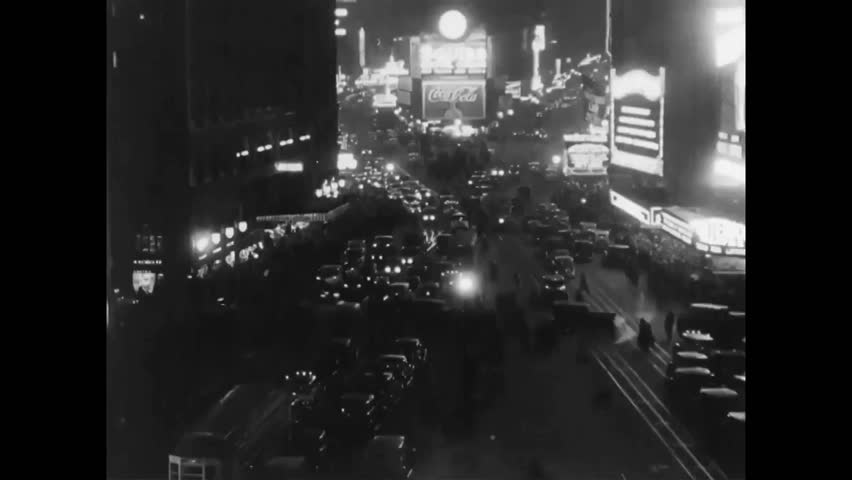 CIRCA 1930s - Socialites drink and dance in a nightclub after the repeal of Prohibition and Times Square is shown in New York City.