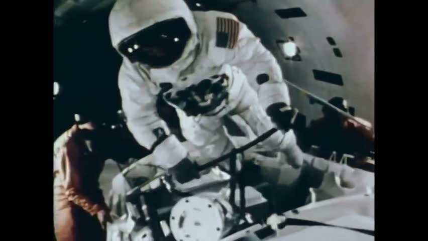 CIRCA 1971 - Astronauts experience zero gravity in a simulator at NASA'S Manned Spacecraft Center.