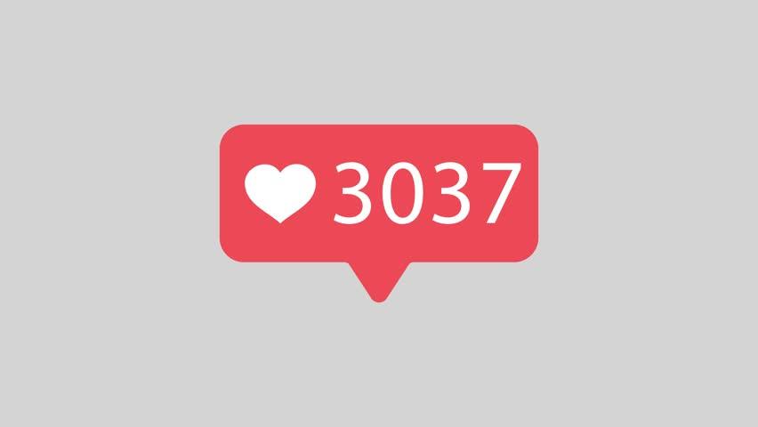 Animation 10000 Like icon. Red Buble Speech. Hear Logo. Stock video 4K